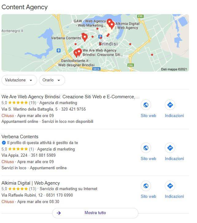 local seo: screenshot d'esempio risultati
